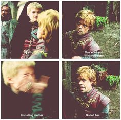 Tyrion slapping the hell out of Joffrey (and he has the gumption to do it!)! You GO Tyrion!