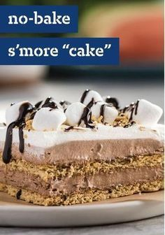 """No-Bake S'more """"Cake"""" – You don't have to wait for the next summer campfire to make this s'mores recipe. With graham crackers, JELL-O chocolate pudding, COOL WHIP whipped topping, and marshmallows, you have yourself a cold dessert that the whole block party will love!"""