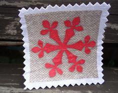 Schneeflocke Stoffbild Patch Aufnäher JUL noel rot von Nostalgie Gretel häkelt und schenkt auf DaWanda.com