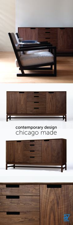 A contemporary sideboard inspired by Mid-century Modern design. Crafted from solid, American hardwood with a hand-rubbed, natural oil and wax finish. Available in custom dimensions as well as door and drawer configurations, as well as in different wood types. Made in Chicago.