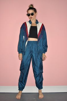 Vintage 80s 90s Aqua Blue Track Suit by WhiteCityVintage on Etsy