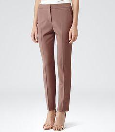 Womens Cherry Straight Leg Trousers - Reiss Candy Oak