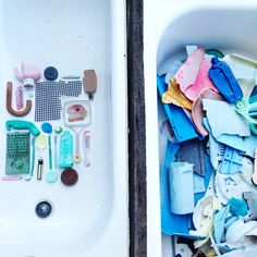 Organizing chaos- washing and sorting collected marine debris.