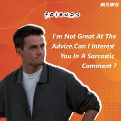 Collection of Chandler Bing or Matthew Perry's dialogues that will refresh you for sure. Click on image to read the whole article. Matthew Perry, Chandler Bing, One Liner, Legends, Happy Birthday, Good Things, Celebrities, Quotes, Image