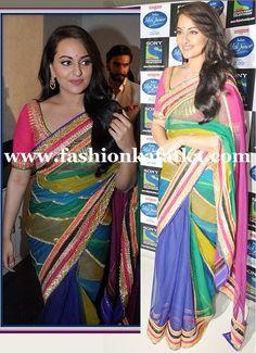 Sonakshi Sinha Multicolored Saree At Indian Idol Junior,Net saree,Party wear saree,indian wear saree,buy saree online,designer saree