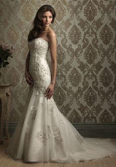appliqued mermaid satin buttons open back wedding dress
