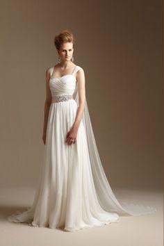 2014 Straps Pleated Bodice A Line Wedding Dress Wirh Ribbon Beaded Chiffon Chapel Train