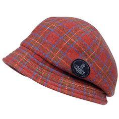 Tartan Cass crocheted hat in red