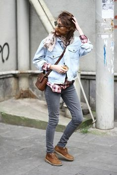 Fabulously Fall Street Style Fashion Looks to Gather Inspiration from ... -- Denim on Denim   Another casual cool style with a plaid shirt, printed scarf and gray skinnies.