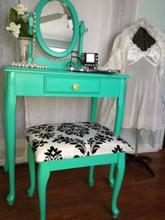 In love with Teal...Updated Teal vanity