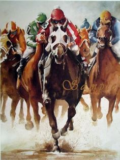 By A Length and Half Horse Racing Print by LafayetteRagsdale, $50.00