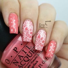 Stamped lace nail art & glitter placement