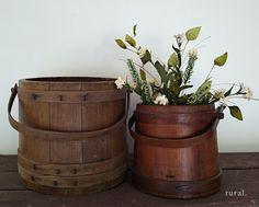 antique wooden buckets
