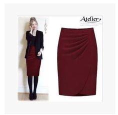 Hot Sale Ladies falda OL mujeres cabidas delgadas hasta la rodilla longitud de cintura alta recta carrera falda lápiz más tamaño XS-4XL venta al por mayor(China (Mainland))