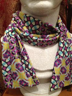 Purple/ yellow geo fashion scarf 56x 8  by AnndeesDoodles on Etsy, $39.99