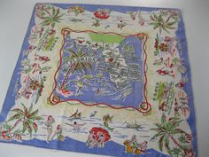 Vintage Florida silk scarf  1940s scarf with by 3floridagirls, $40.00