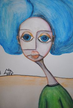 She is called empty...Watercolor pencils and  ink pen...