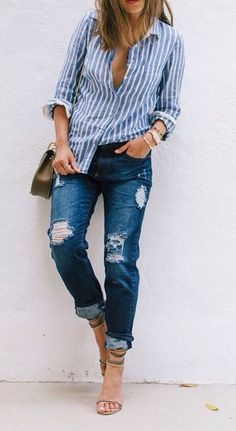 Chic Shirt Collar Long Sleeves Striped Women's Shirt