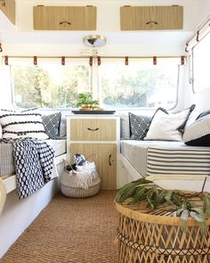 """caravan interior 65794844541266976 - BEFORE + AFTER Swipe left for before and during photos of the """"sleeping"""" area of our early Coronet caravan… Mrs Schmick came to us… Source by eterness Happy Campers, Best Pop Up Campers, Camping Car Rapido, Retro Caravan, Caravan Ideas, Vintage Caravan Interiors, Caravan Decor, Vintage Caravans, Vintage Campers"""