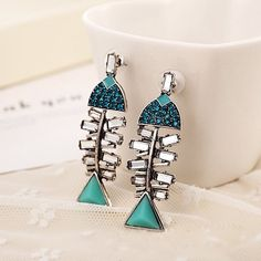 Pair of Stylish Rhinestone Fish Bone Earrings For Women