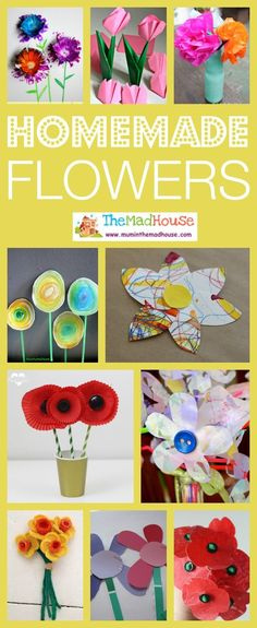 Homemade flowers for kids to make perfect for Spring or Mothers Day