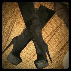 London trash cougar thigh high boots Black suede/calf thigh high boots, never worn. London trash Shoes Over the Knee Boots