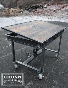 Industrial Adjustable Drafting Table by urbanwoodandsteel