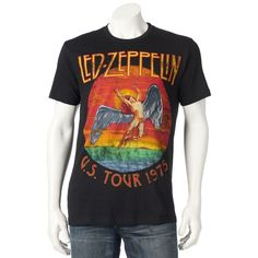 "Men's Led Zeppelin ""U.S. Tour 1975"" Tee ($15) ❤ liked on Polyvore featuring men's fashion, men's clothing, men's shirts, men's t-shirts, black, mens patterned t shirts, j crew mens shirts, mens print shirts, mens crew neck t shirts and mens short sleeve t shirts"