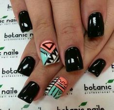 Aztec Nails- instead of full black on the majority of my nails, I'd like full white or another color in the design. Get Nails, Fancy Nails, Love Nails, Fabulous Nails, Gorgeous Nails, Pretty Nails, Perfect Nails, Aztec Nail Art, Tribal Nails