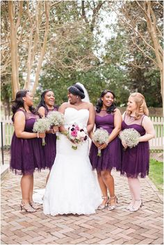 Plum and Pewter Wedding at Wren Chapel Williamsburg, Legacy Hall Reception by Angie McPherson Photography, Bridesmaid Portraits
