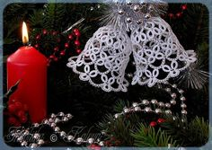 West of the Moon, East of the Sun: Christmas in July bis Christmas In July, Christmas Bells, Christmas Angels, Christmas Crafts, Christmas Decorations, Christmas Ornaments, Shuttle Tatting Patterns, Tatting Patterns Free, Lace Patterns
