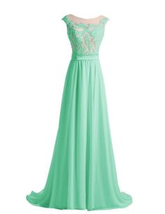 Diyouth Long Lace Flower Scoop Neck Chiffon Prom Dress Train at Amazon Women's Clothing store:
