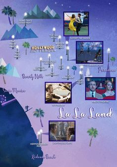 The La La Land, Map of Los Angeles with locations of many of the sights. From Eonline.