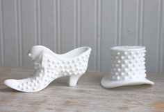 Vintage White Hobnail Top Hat and Shoe - Fenton Glass Figurines