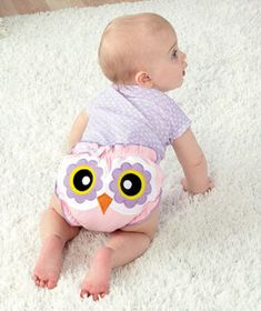 owl baby bloomers. could easily make a gray and yellow/black or blue owl for a baby boy!