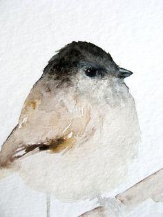Tiny Brown Bird Original Watercolor Painting por dearpumpernickel