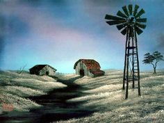 Peaceful Landscape Paintings by Bob Ross  - Bob Ross  Landscape Paintings : The Windmill  20