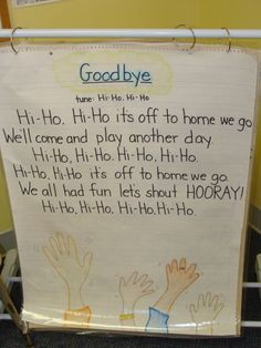 ELG - Language and Communication Development in Infants - Arrival/Departure - The older infant demonstrates a response to favorite songs, stories, or people. - The Goodbye Song uses a happy tune to sing goodbye while waving, (a non-verbal gesture). Kindergarten Songs, Preschool Music, Kindergarten Classroom, Goodbye Songs For Preschool, Preschool Graduation Songs, Classroom Games, Classroom Behavior, Classroom Organization, Classroom Management