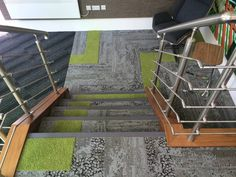 Stairs don't need to be boring any more. With Interface carpet tiles you can get as creative as you like. Carpet Design, Floor Design, Atrium Design, Commercial Carpet Tiles, Carpet Installation, Cheap Carpet Runners, Wall Carpet, Patterned Carpet, Commercial Design