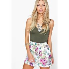 Boohoo Lucy Floral Flippy Shorts ($14) ❤ liked on Polyvore featuring shorts, multi, micro shorts, sequin hotpants, flower print shorts, floral culottes and culottes shorts