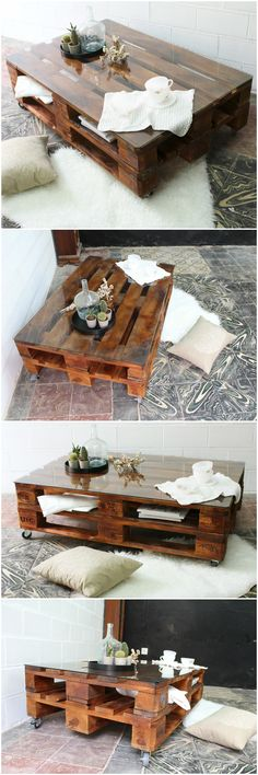 Mesa de palets con ruedas y vidrio. Pallet table with wheels and glass. Table made with pallets. Furniture with pallet tables. Furniture of pallePaletten DIY Couchtisch # Couchtische - Basic Dekor For nice DIY furnishings product of pallets - Diy Cr Diy Furniture Making, Diy Pallet Furniture, Diy Pallet Projects, Garden Furniture, Furniture Ideas, Table Furniture, Pallet Ideas, Wood Projects, Diy Coffee Table