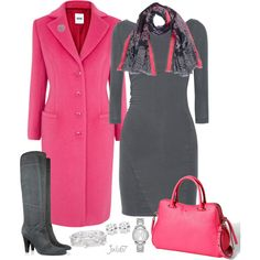 Gray and Pink Work Outfit