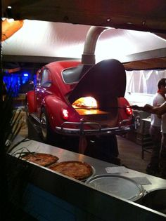 VW beetle as a pizza oven