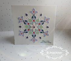 Glückwunschkarte zum Geburtstag - Mandala Einlegearbeit Marquetry, Hydrangea, Cards