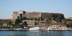 Boats Moored in the Harbour in Corfu Town Corfu Greece