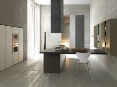 """Cucina moderna in polimerico bianco """"onda"""""""