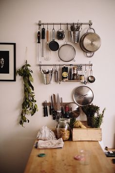 kitchen rack. I always like the idea of doubling useful things as decoration. Useful things should look nice, too, and extra decorative clutter isn't necessary!