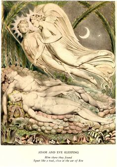 Adam and Eve Asleep ~ William Blake William Blake's Mesmerizing Illustrations for John Milton's Paradise Lost William Blake Art, William Blake Paintings, Milton Paradise Lost, Adam Et Eve, Heaven And Hell, Pen And Watercolor, Museum Of Fine Arts, Oeuvre D'art, Ciel