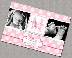 Baby Announcement Photo Card - Girl Birth Announcement. DIY Printable File