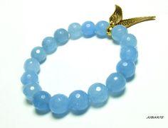 JADE & WINGS Stretch Bracelet Gemstone Bracelet Bead by JUBIARTE